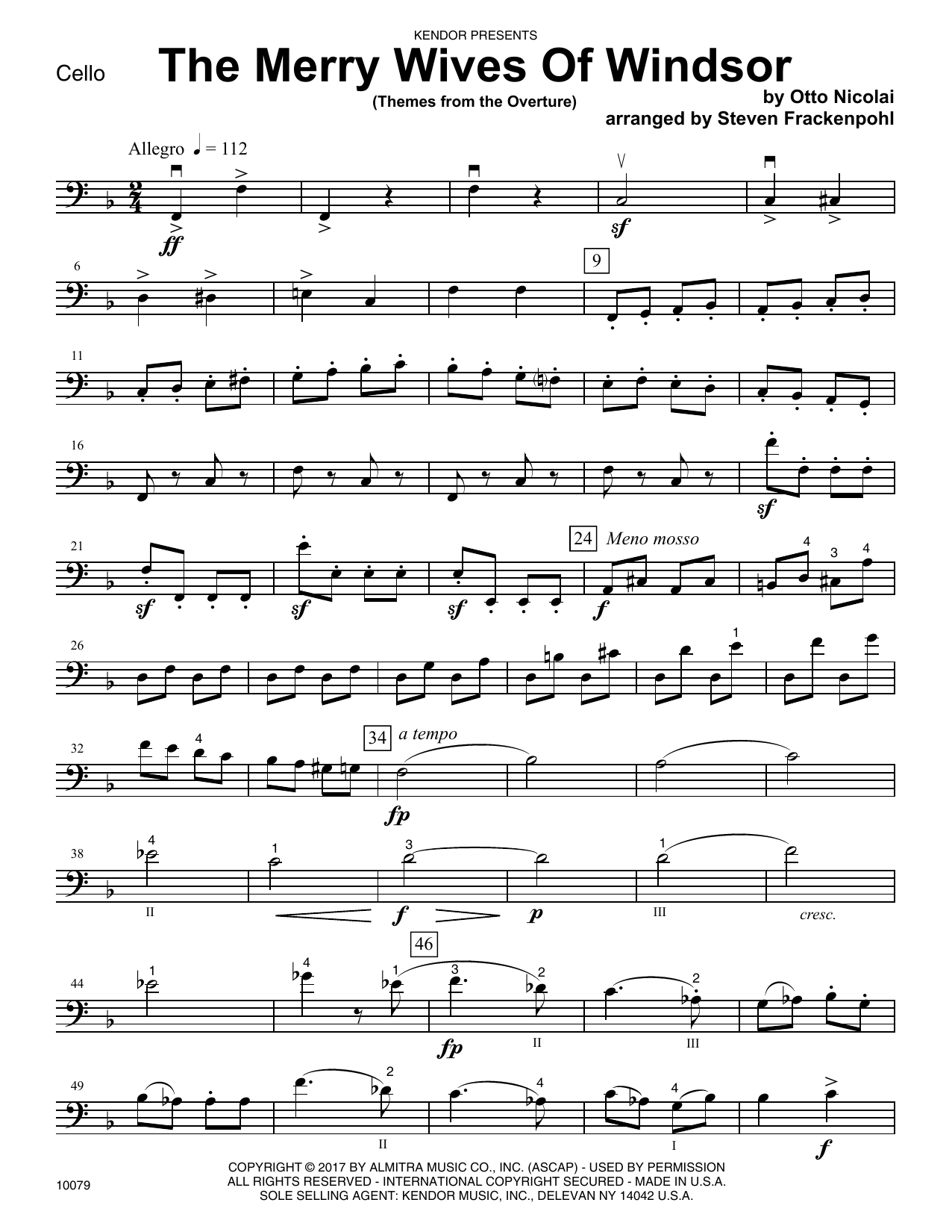 Steven Frackenpohl The Merry Wives Of Windsor (Themes From The Overture) - Cello sheet music notes printable PDF score