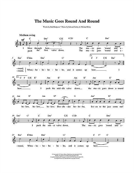 Louis Armstrong The Music Goes Round And Round sheet music notes printable PDF score