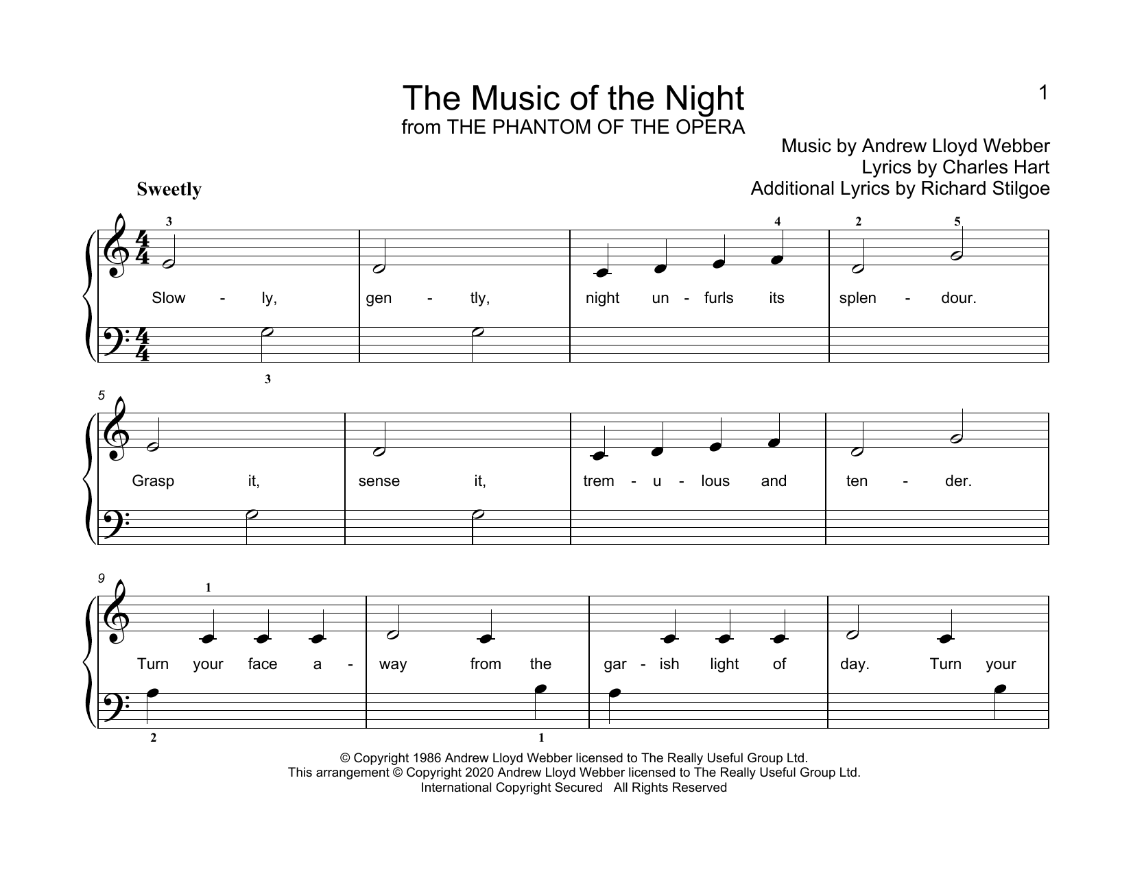 Andrew Lloyd Webber The Music Of The Night (from Phantom Of The Opera) (arr. Christopher Hussey) sheet music notes printable PDF score