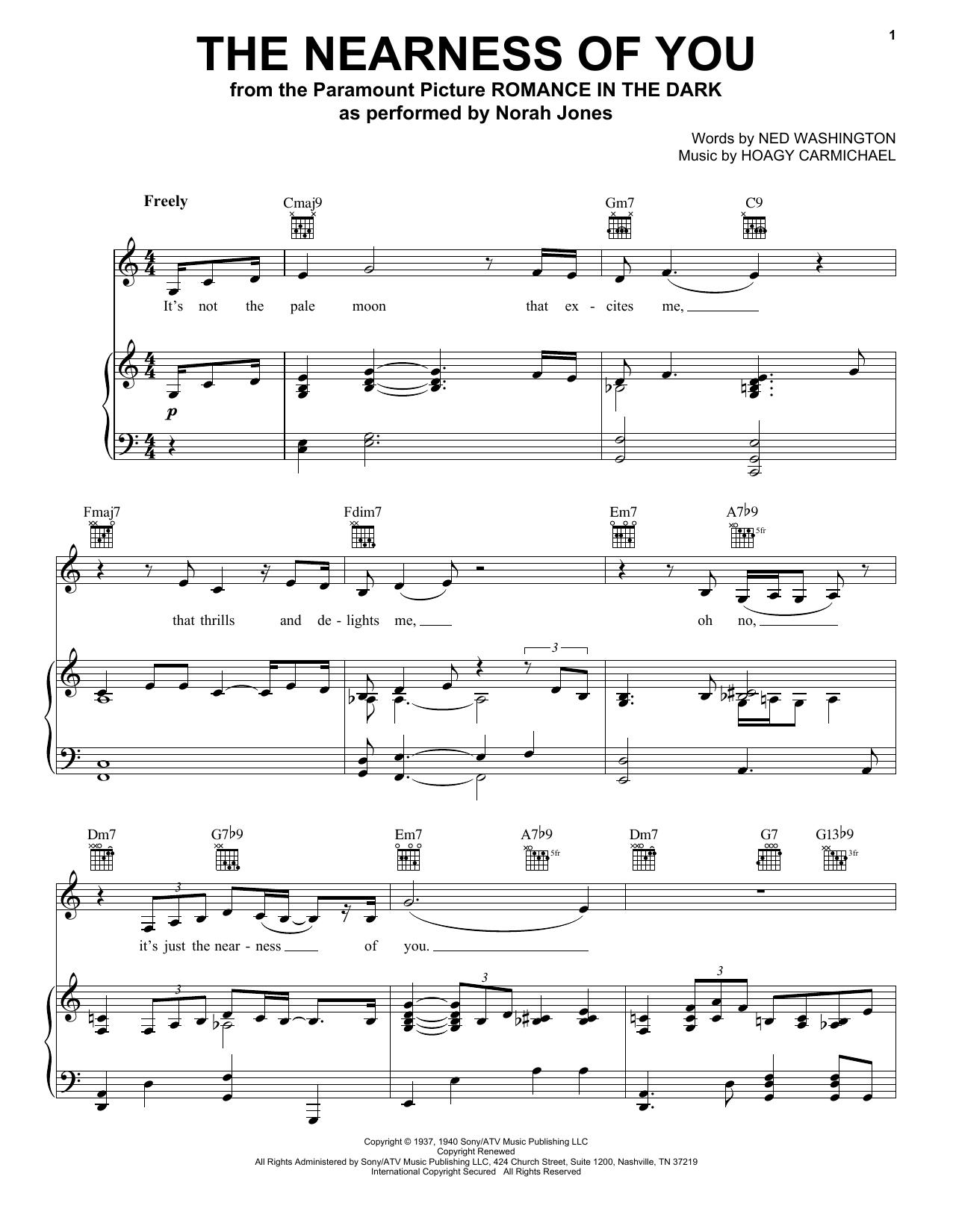Norah Jones The Nearness Of You sheet music notes printable PDF score