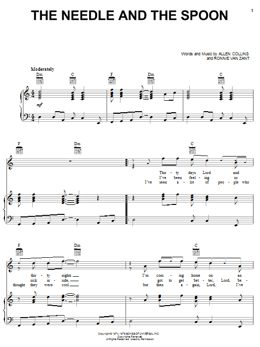 Lynyrd Skynyrd The Needle And The Spoon sheet music notes printable PDF score
