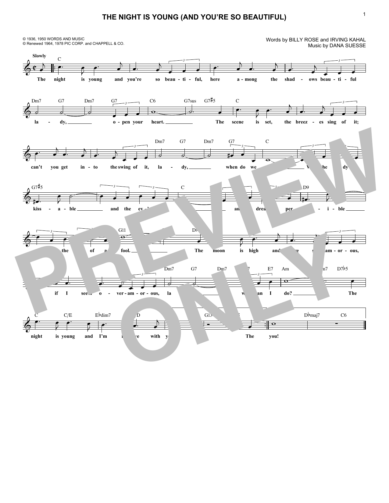 Billy Rose The Night Is Young (And You're So Beautiful) sheet music notes printable PDF score