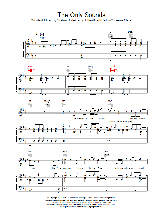 Wet Wet Wet The Only Sounds sheet music notes printable PDF score