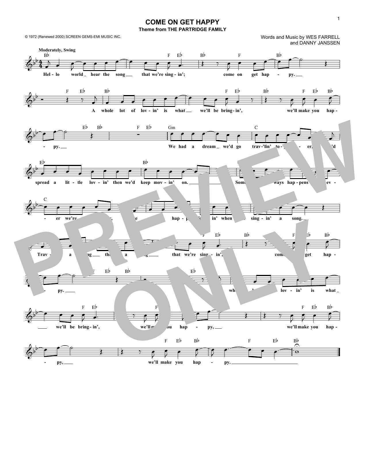 The Partridge Family Come On Get Happy sheet music notes and chords - download printable PDF.