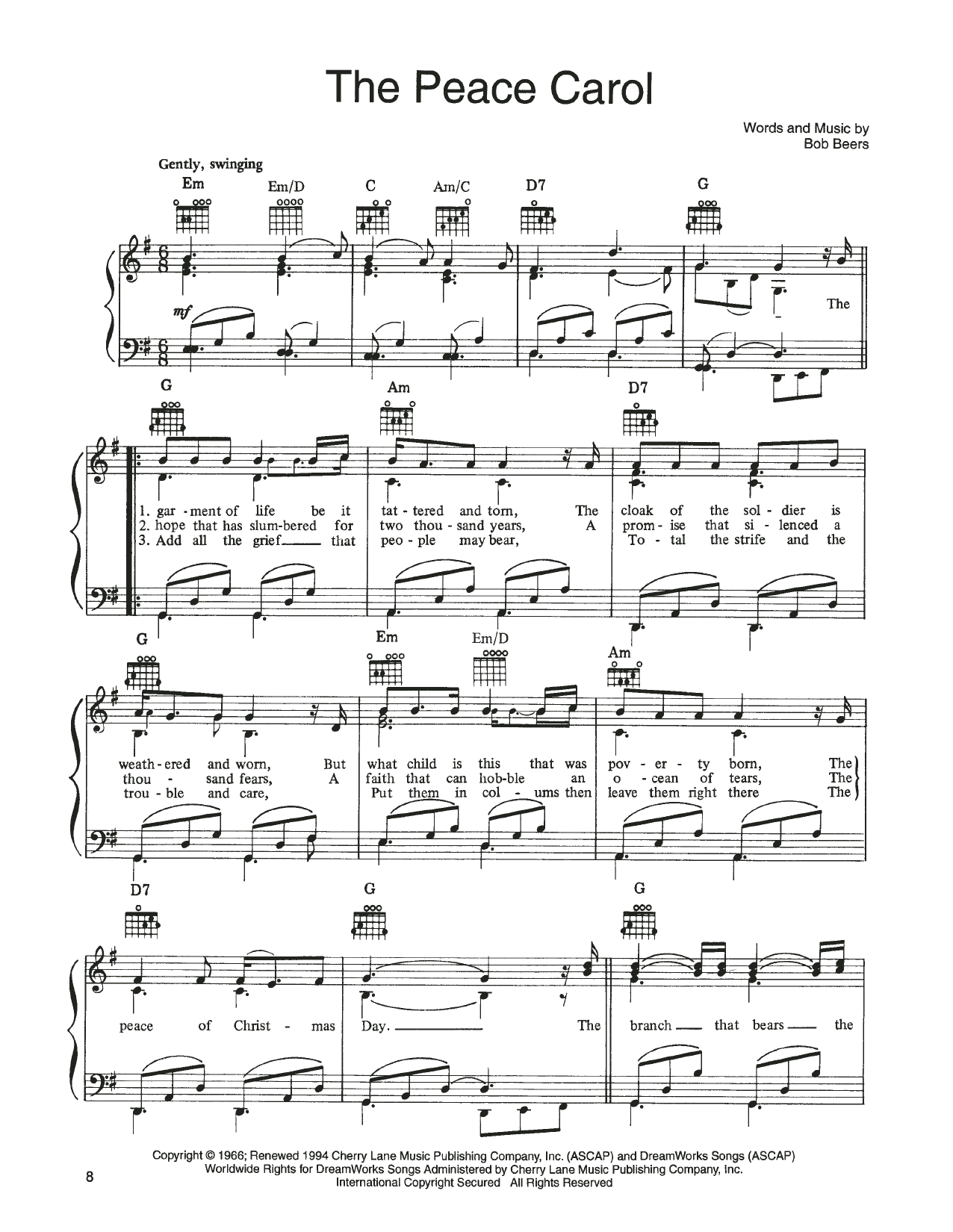 John Denver and The Muppets The Peace Carol (from A Christmas Together) sheet music notes printable PDF score