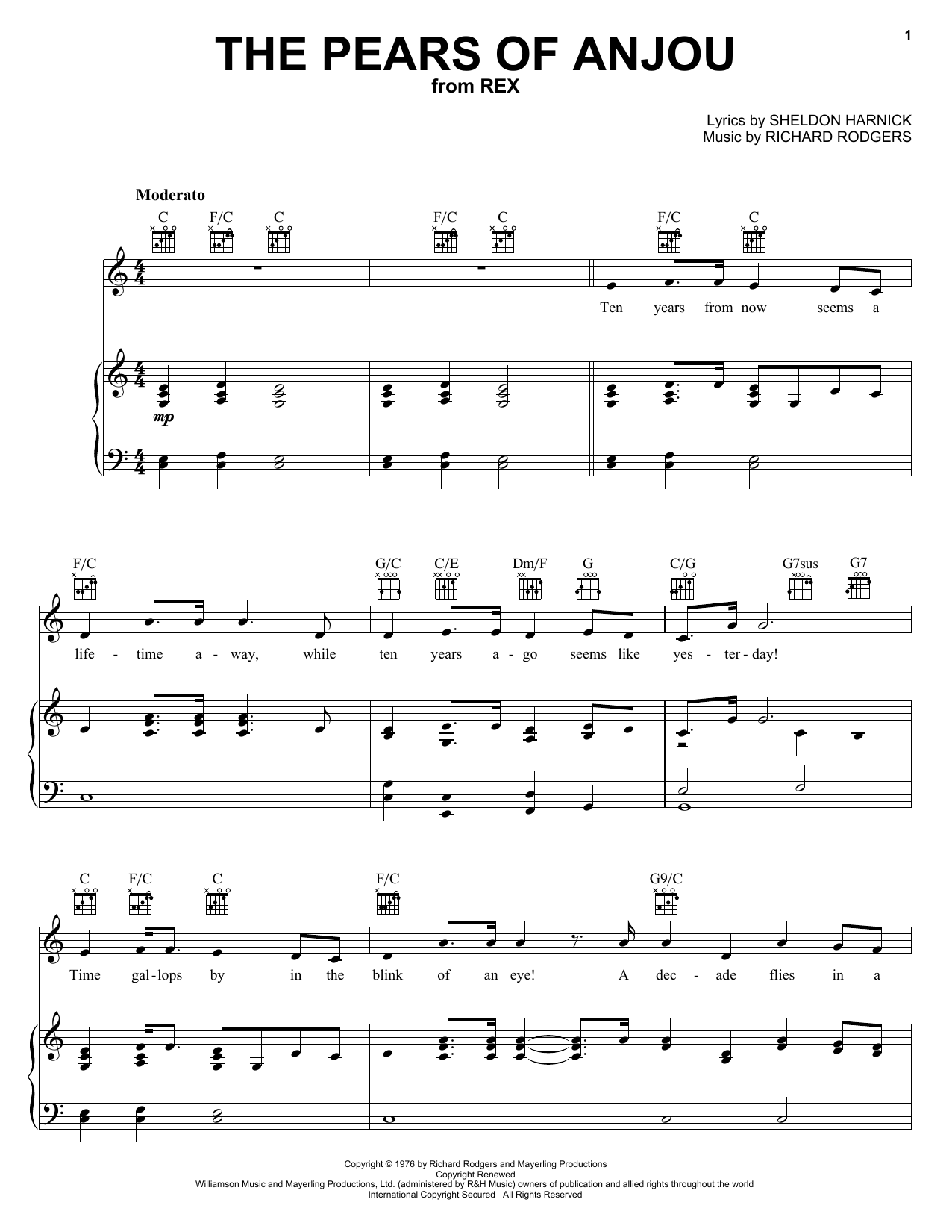 Richard Rodgers The Pears Of Anjou sheet music notes printable PDF score