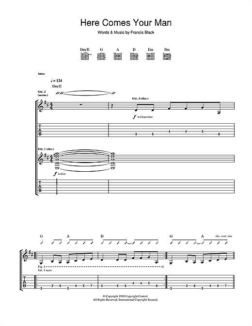 The Pixies Here Comes Your Man sheet music notes and chords - download printable PDF.