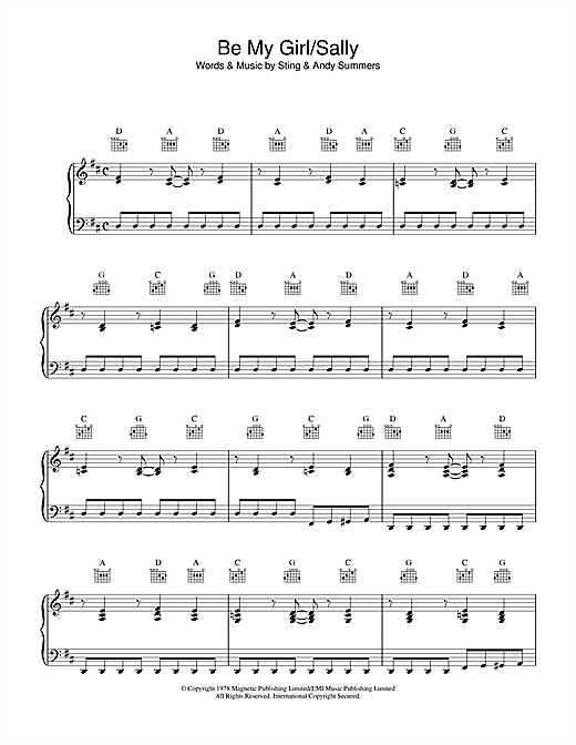 The Police Be My Girl, Sally sheet music notes printable PDF score