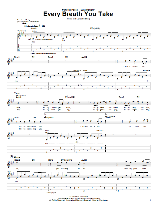 The Police Every Breath You Take sheet music notes and chords. Download Printable PDF.