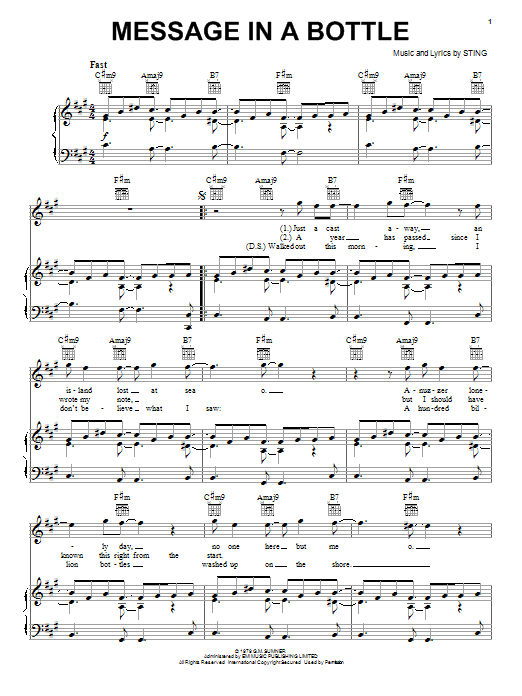 The Police Message In A Bottle sheet music notes and chords. Download Printable PDF.
