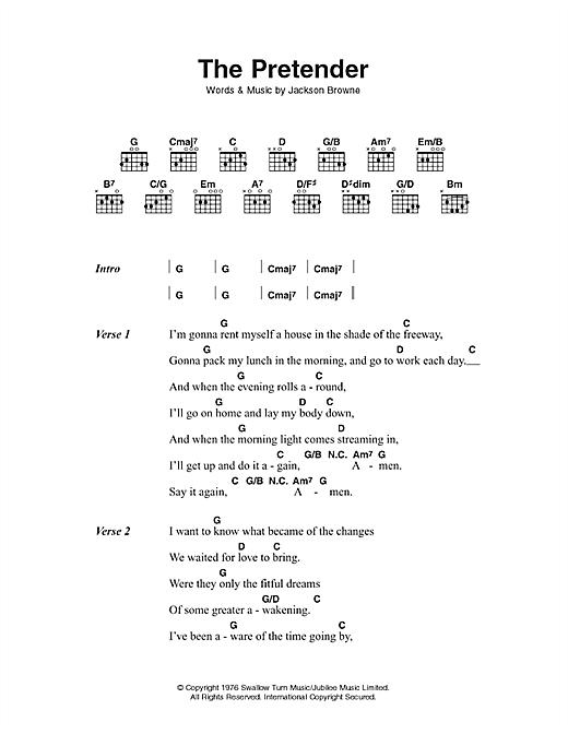 Jackson Browne The Pretender sheet music notes printable PDF score