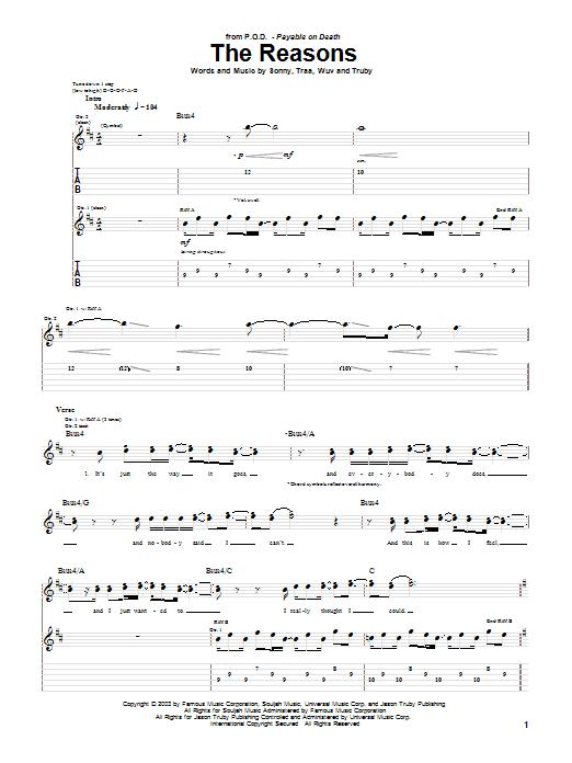 P.O.D. (Payable On Death) The Reasons sheet music notes printable PDF score