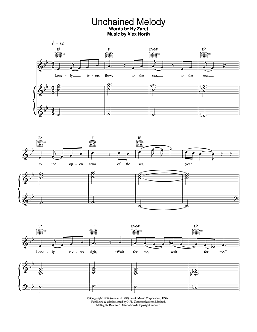 The Righteous Brothers Unchained Melody sheet music notes and chords. Download Printable PDF.