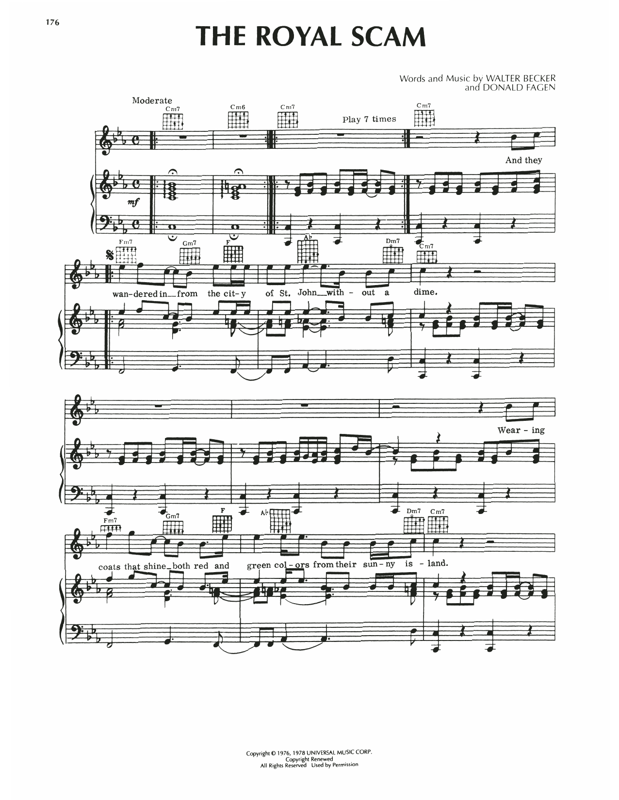 Steely Dan The Royal Scam sheet music notes printable PDF score