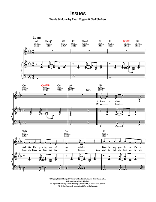 The Saturdays Issues sheet music notes printable PDF score