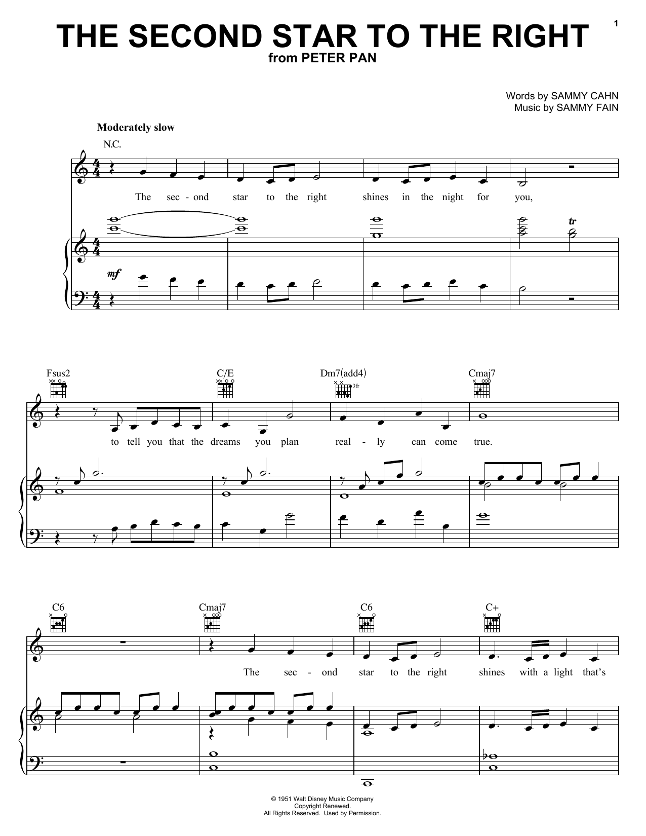 Sammy Cahn The Second Star To The Right sheet music notes printable PDF score