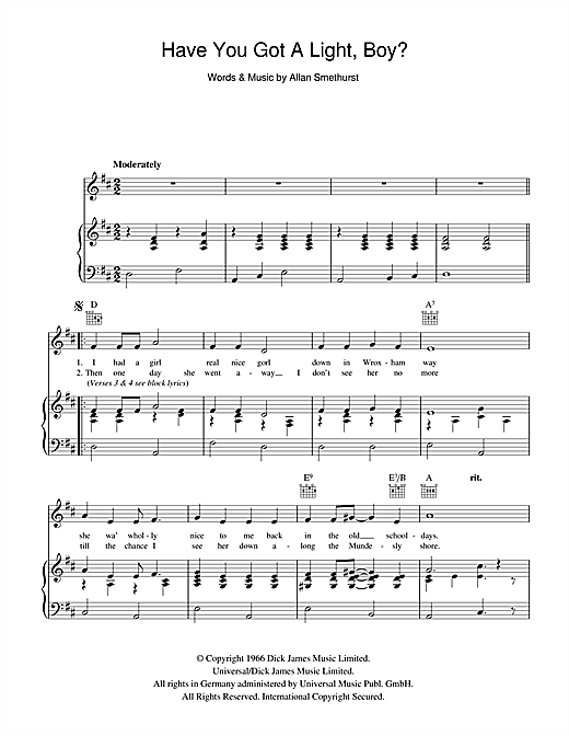 The Singing Postman Have You Got A Light Boy? sheet music notes and chords. Download Printable PDF.