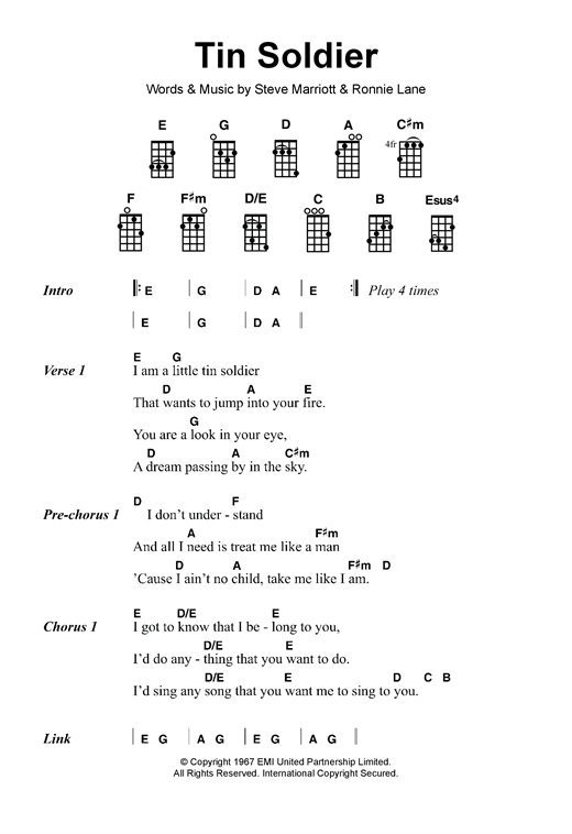 The Small Faces Tin Soldier sheet music notes and chords. Download Printable PDF.