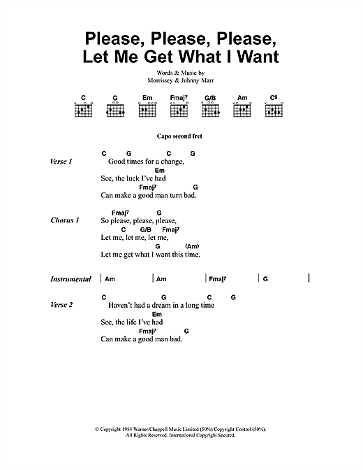 The Smiths Please, Please, Please, Let Me Get What I Want sheet music notes and chords - download printable PDF.