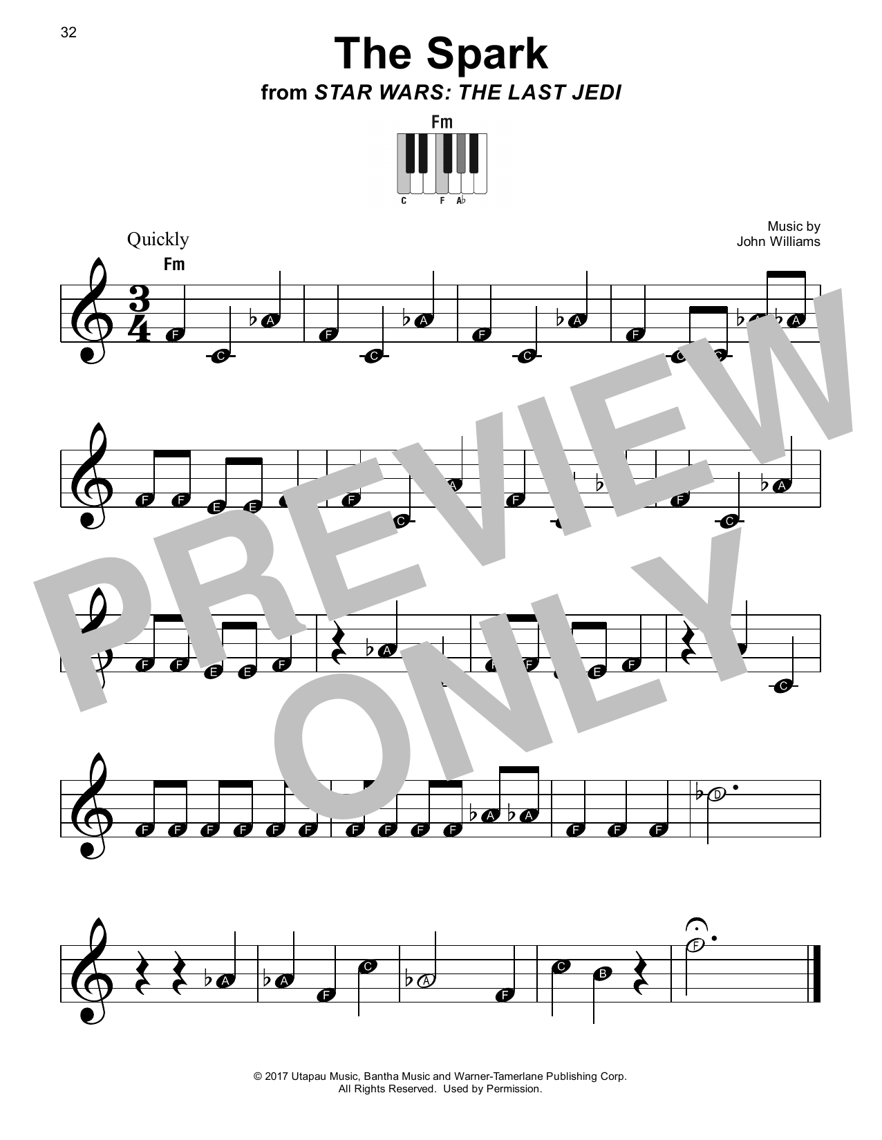 John Williams The Spark (from Star Wars: The Last Jedi) sheet music notes printable PDF score