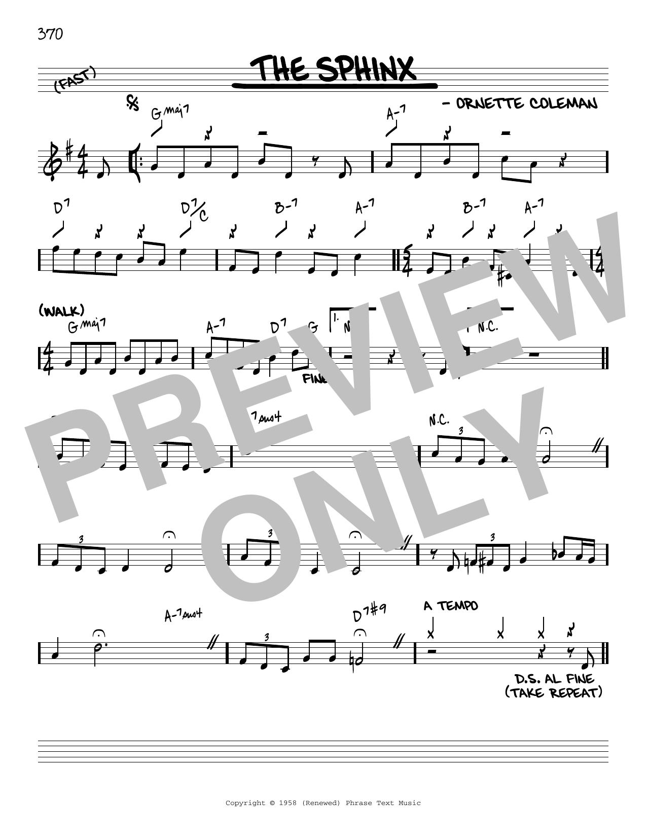 Ornette Coleman The Sphinx [Reharmonized version] (arr. Jack Grassel) sheet music notes printable PDF score