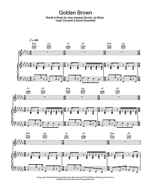 The Stranglers Golden Brown sheet music notes and chords. Download Printable PDF.