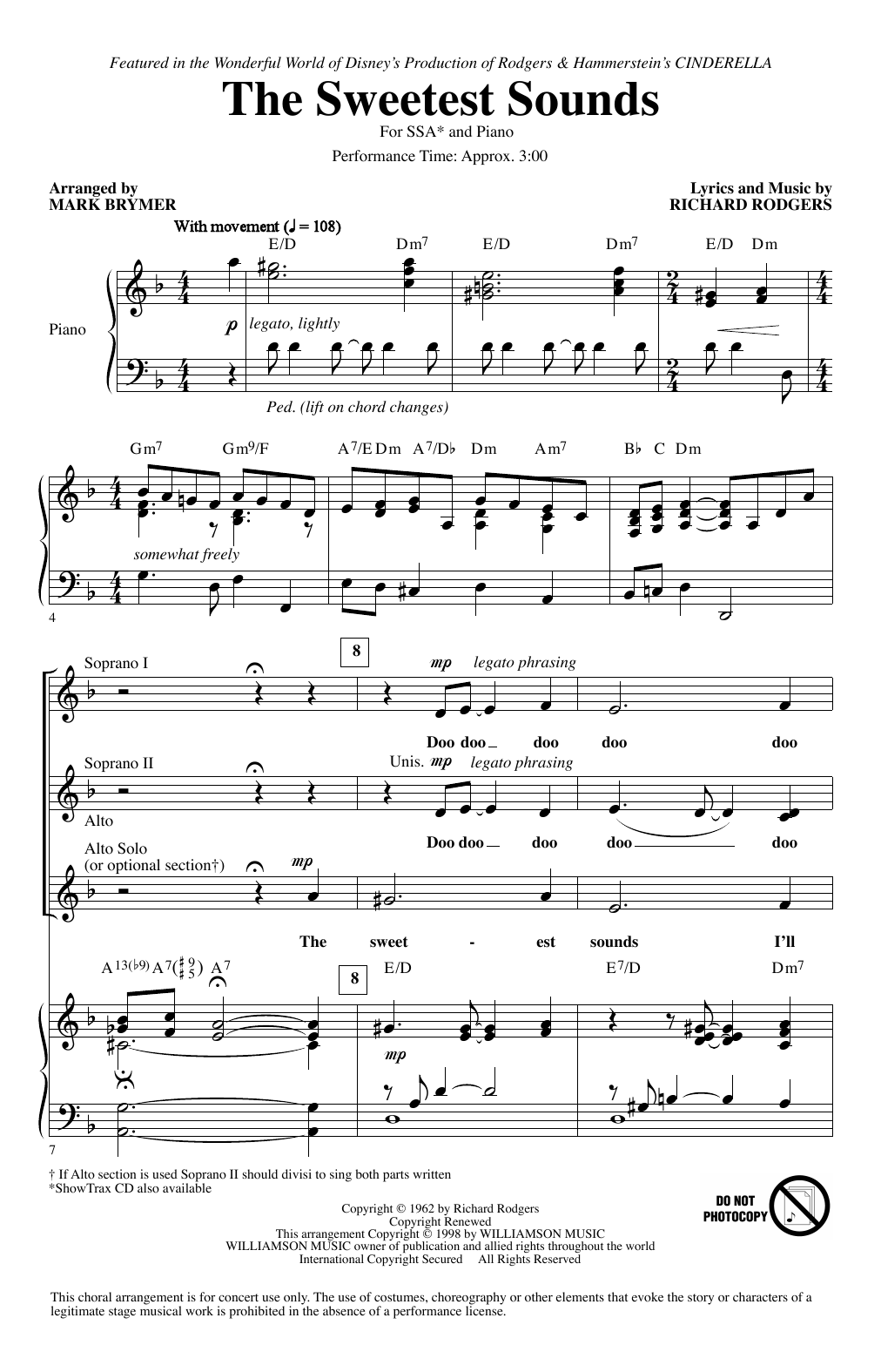 Brandy The Sweetest Sounds (from Cinderella) (arr. Mark Brymer) sheet music notes printable PDF score
