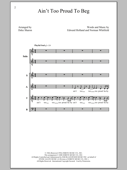 The Temptations Ain't Too Proud To Beg (arr. Deke Sharon) sheet music notes and chords. Download Printable PDF.