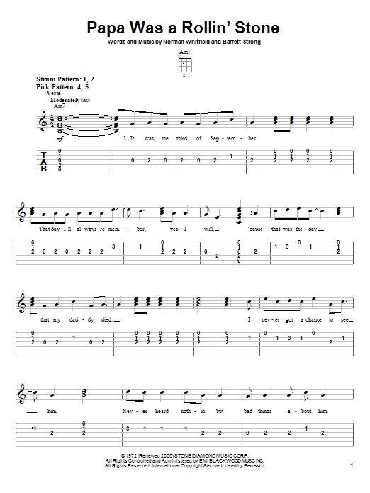The Temptations Papa Was A Rollin' Stone sheet music notes and chords. Download Printable PDF.