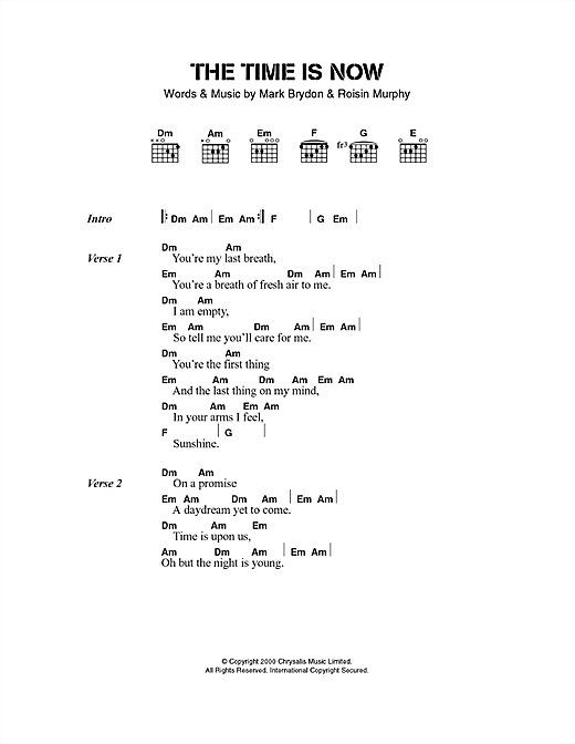 Moloko The Time Is Now sheet music notes printable PDF score