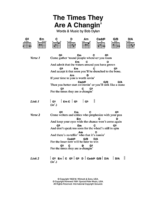 Bob Dylan The Times They Are A-Changin' sheet music notes printable PDF score