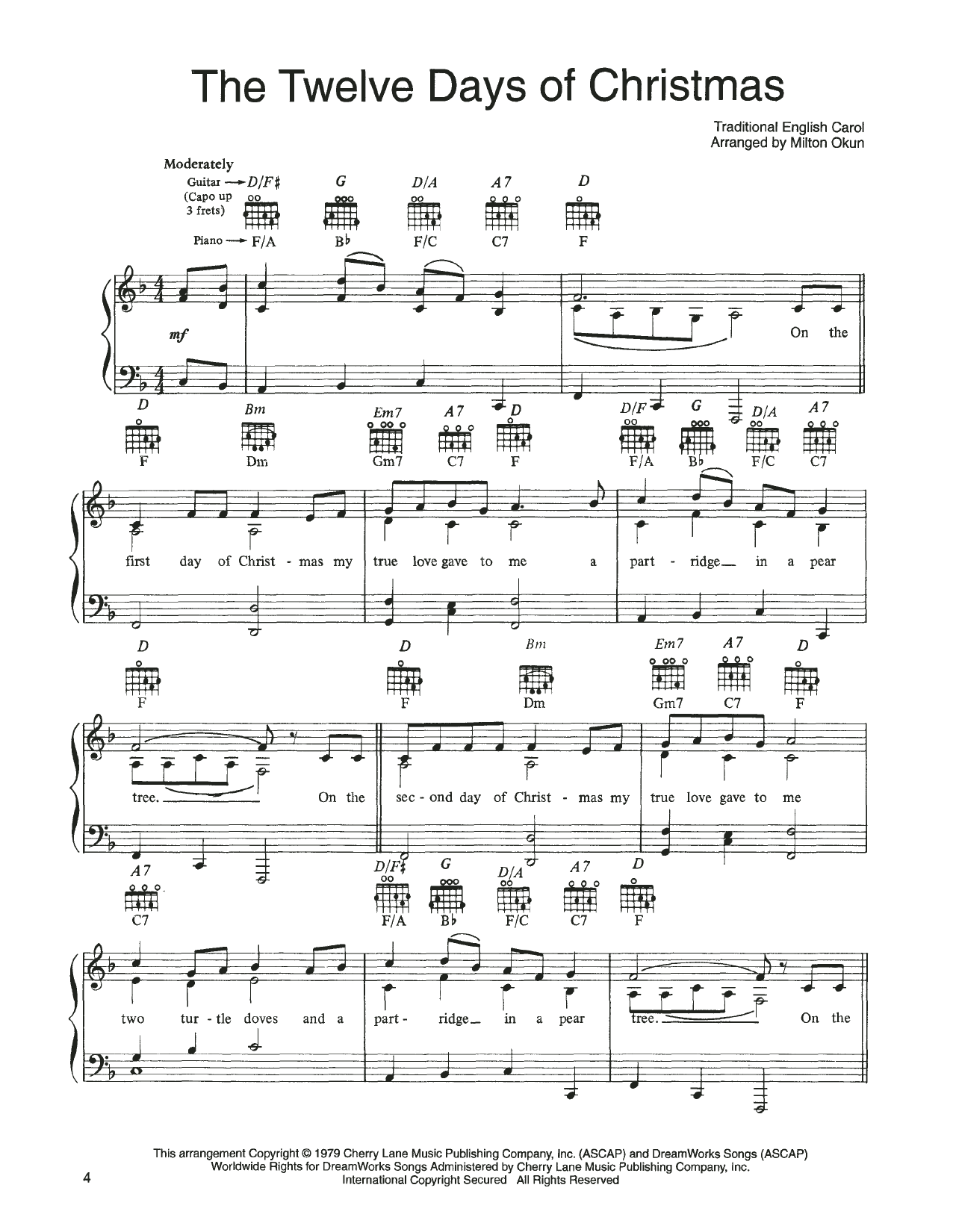 John Denver and The Muppets The Twelve Days Of Christmas (from A Christmas Together) sheet music notes printable PDF score