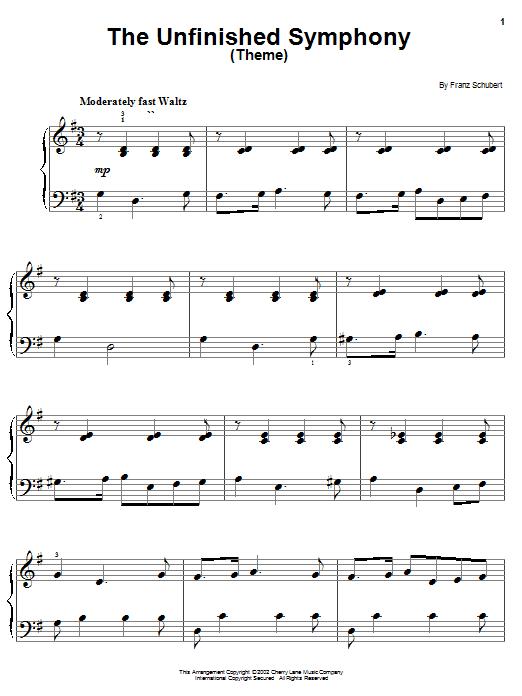 Franz Schubert The Unfinished Symphony (Theme) sheet music notes printable PDF score