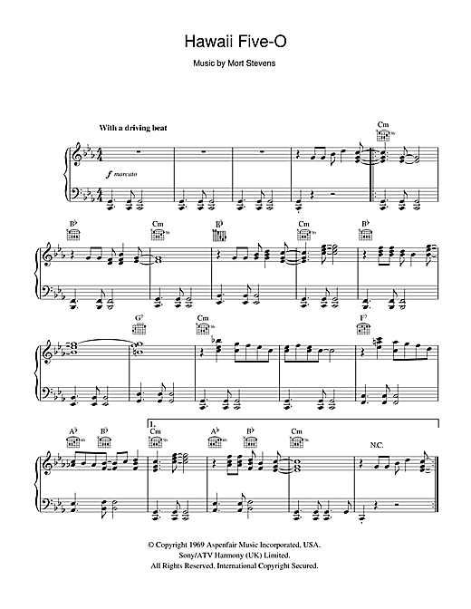 The Ventures Hawaii Five-O sheet music notes and chords. Download Printable PDF.