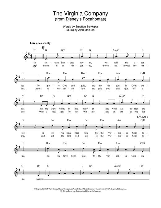Alan Menken The Virginia Company (from Pocahontas) sheet music notes printable PDF score
