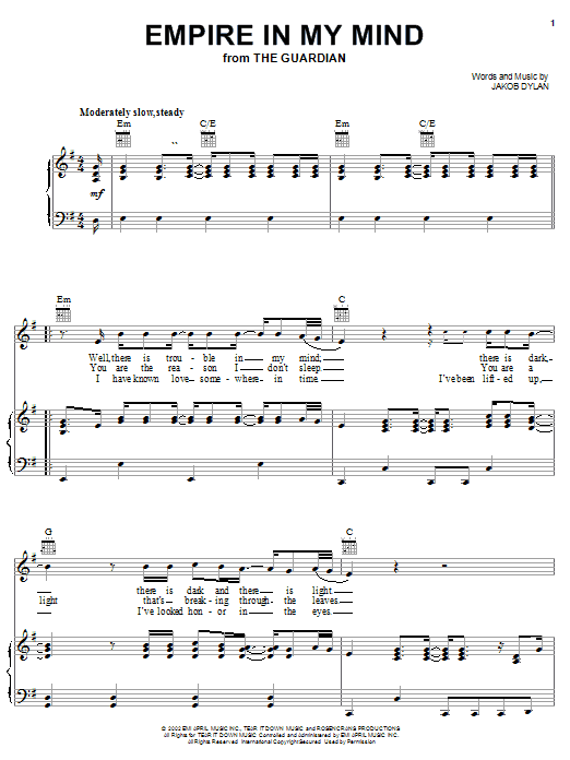 The Wallflowers Empire In My Mind (from The Guardian) sheet music notes and chords. Download Printable PDF.