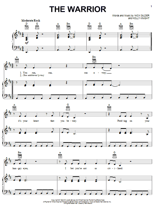Scandal The Warrior sheet music notes printable PDF score