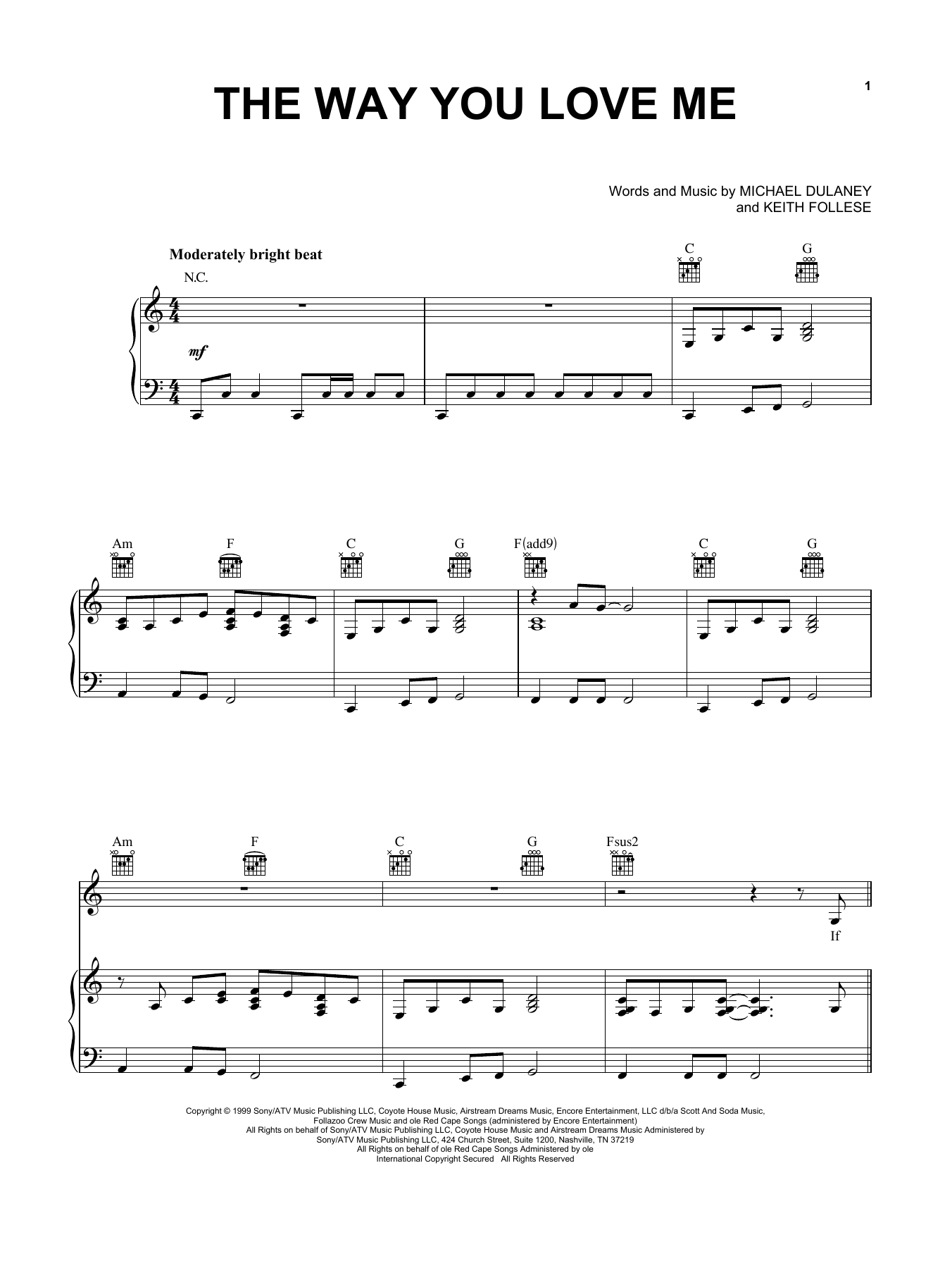 Faith Hill The Way You Love Me sheet music notes printable PDF score