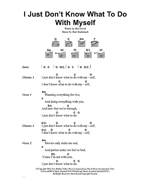 The White Stripes I Just Don't Know What To Do With Myself sheet music notes printable PDF score