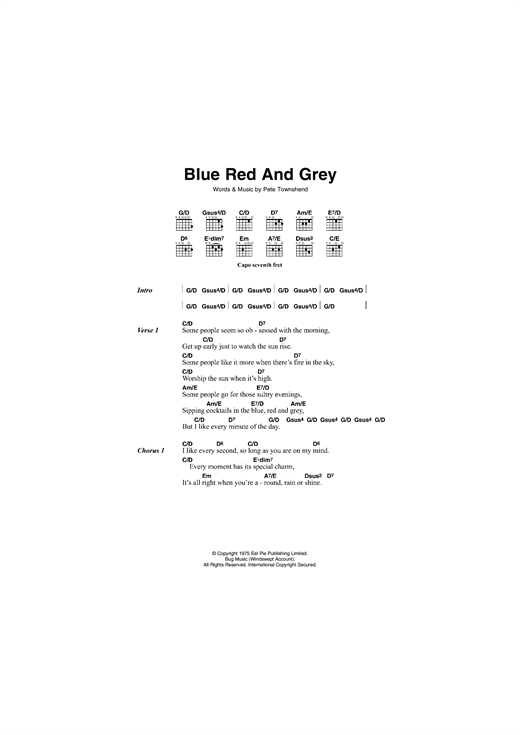 The Who Blue, Red and Grey sheet music notes and chords. Download Printable PDF.