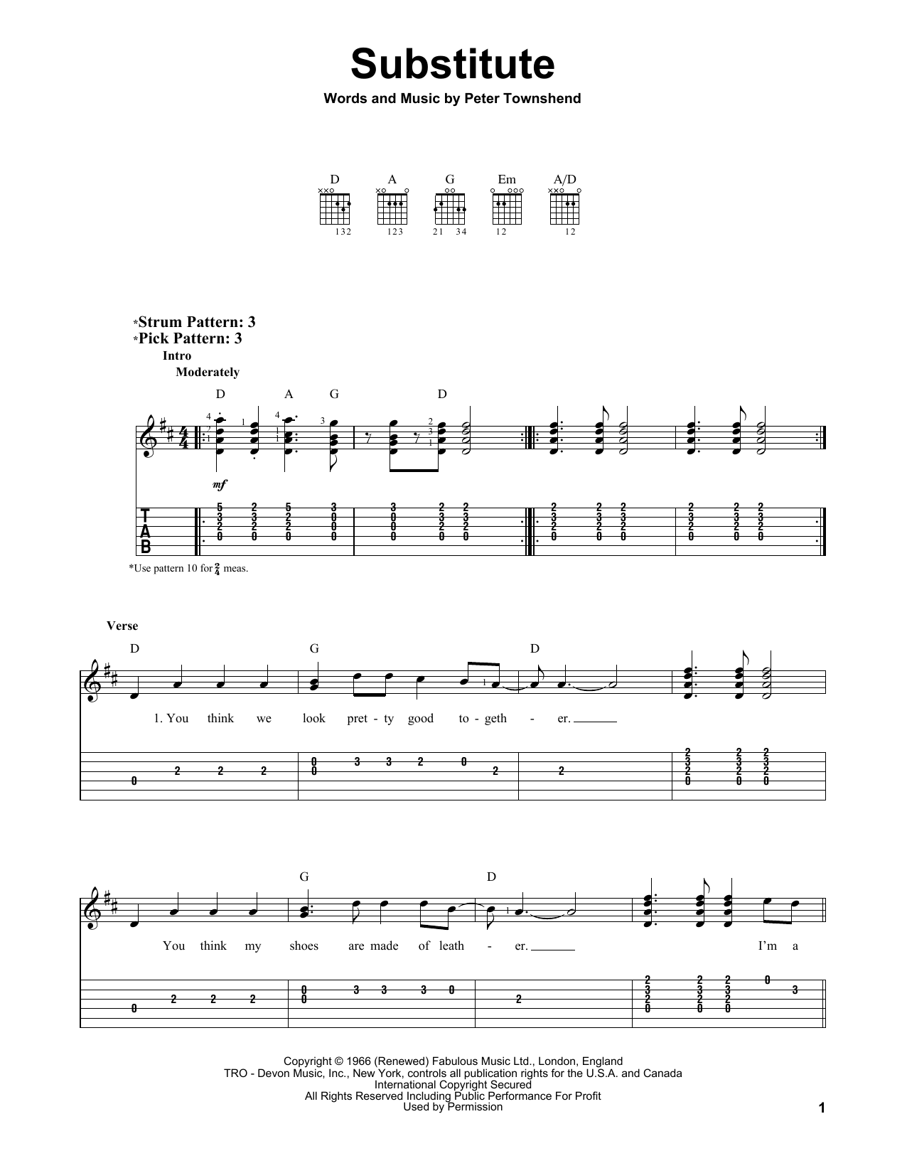 The Who Substitute sheet music notes and chords. Download Printable PDF.