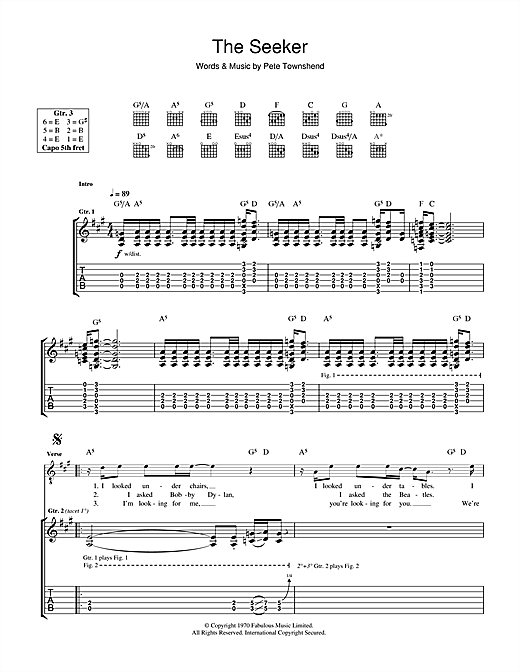 The Who The Seeker sheet music notes and chords. Download Printable PDF.