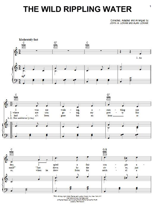 Alan Lomax The Wild Rippling Water sheet music notes printable PDF score