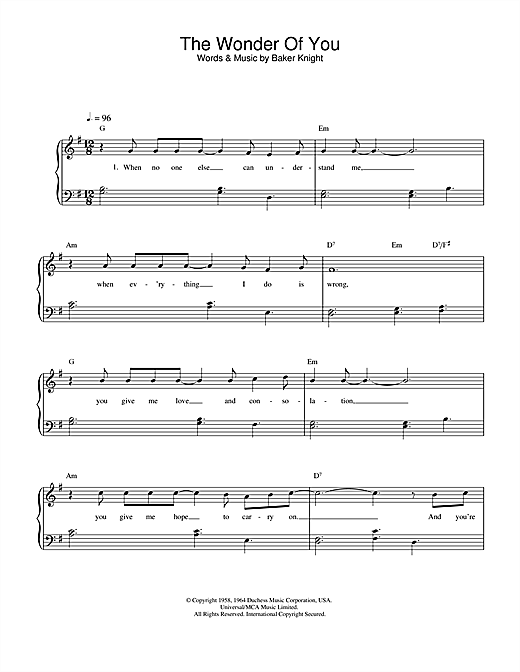 Elvis Presley The Wonder Of You sheet music notes printable PDF score