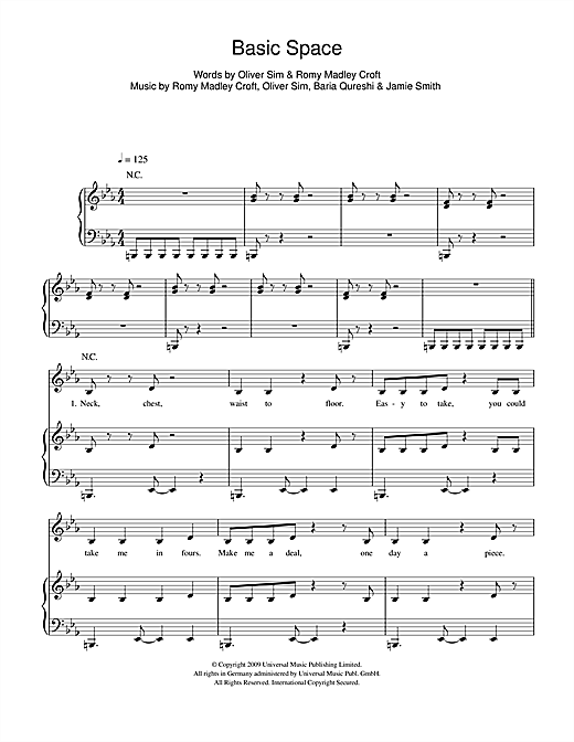 The XX Basic Space sheet music notes and chords. Download Printable PDF.