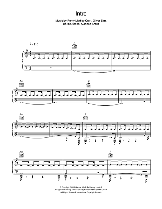 The XX Intro sheet music notes and chords. Download Printable PDF.
