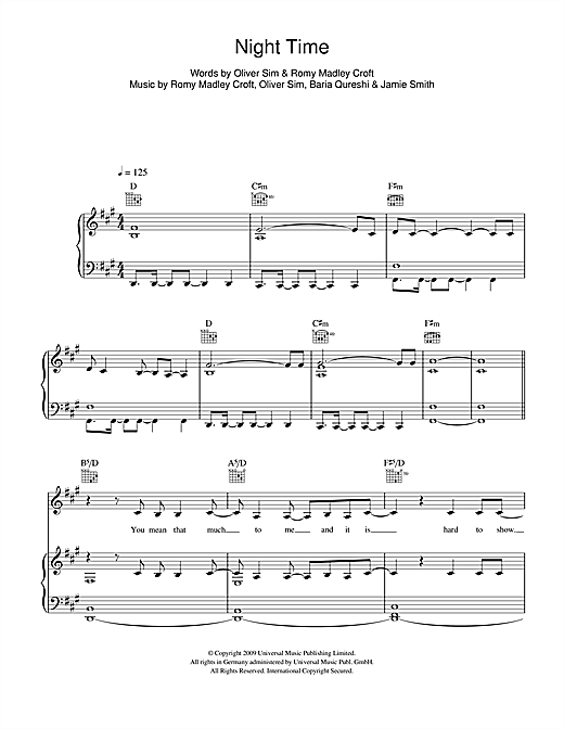 The XX Night Time sheet music notes and chords. Download Printable PDF.