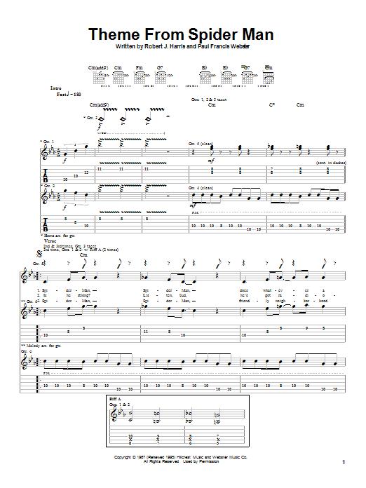 Aerosmith Theme From Spider-Man sheet music notes printable PDF score