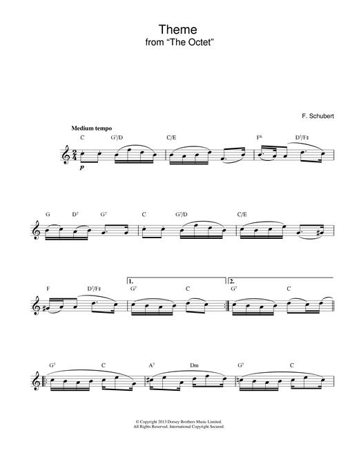 Franz Schubert Theme From The Octet sheet music notes printable PDF score