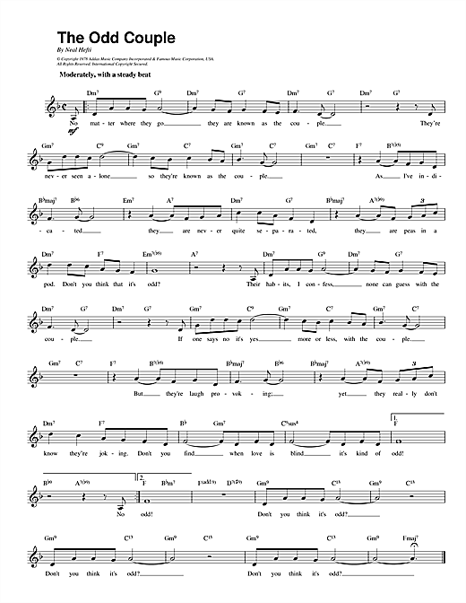 Neal Hefti Theme from The Odd Couple sheet music notes printable PDF score